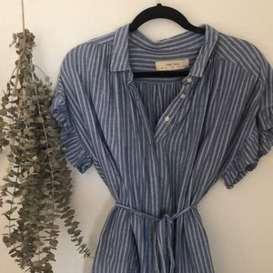 Anthropologie Stripe Chambray Button Down Dress
